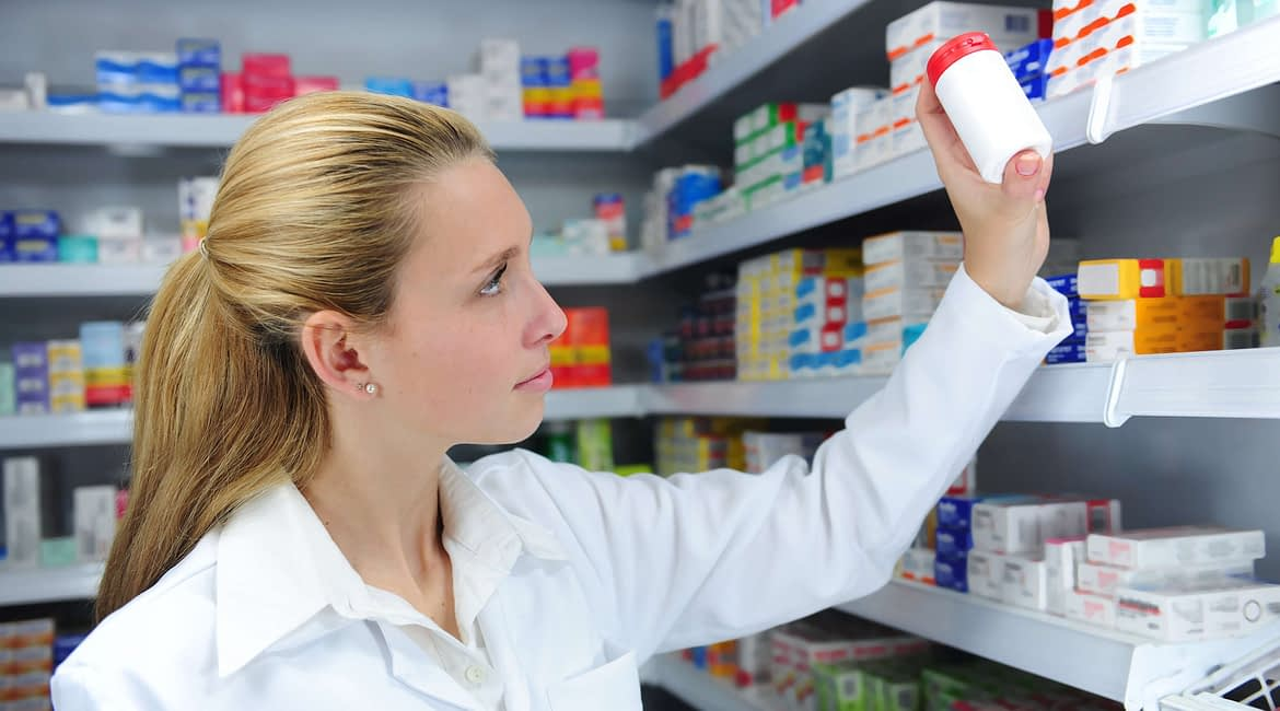 Pharmacist searching the right medicine