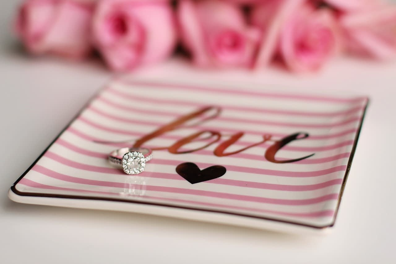 Engagement ring and love plate